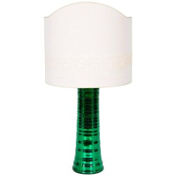 Italian Murano Glass Table Lamp in Mirrored Green, Circa 1980s