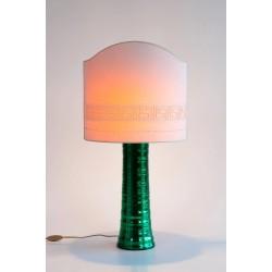 Italian Murano Glass Table Lamp in Green Mirrored, circa 1980s