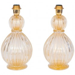 Pair of Gold Italian Murano Table Lamps, Circa 1980s