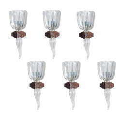 Six Italian Muarano Glass Sconces,  Seguso 1950s