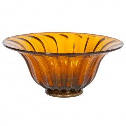 Italian Murano Bowl in Amber and Gold, Circa 1960s