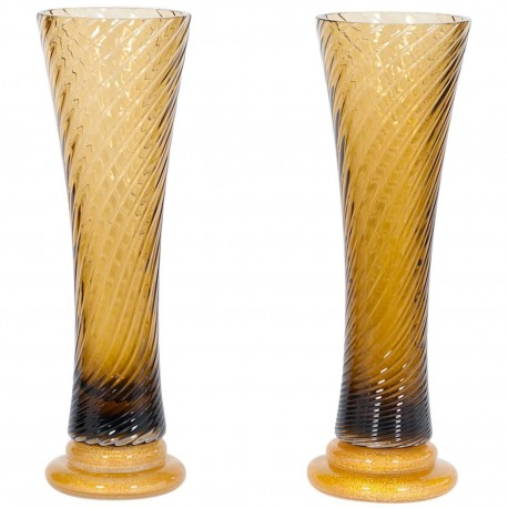 Pair of Italian Murano Glass Vases, attributed to Seguso around 1980s