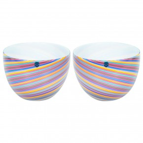 Pair of Italian Murano Glass Bowls, Signed Cenedese, 1970s