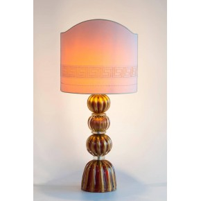 ... Italian Murano Glass Table Lamp In Gold And Red Color, Circa 1970s