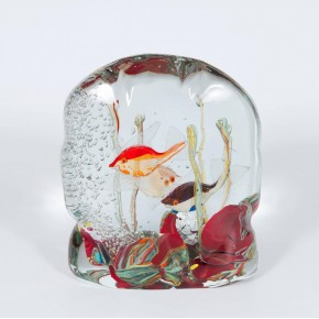 Italian Murano Glass Aquarium Signed by Romano Donà, 1980s