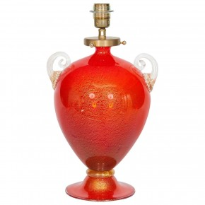Red and Gold Italian Murano Glass Table Lamp, Circa 1970s