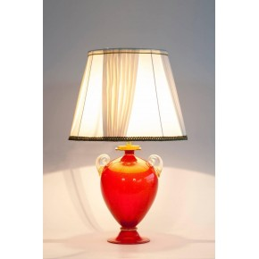 Italian Murano Glass Table Lamp in Red and Gold, circa 1970s