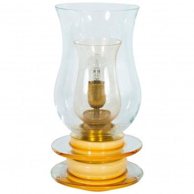 Italian Venetian Murano Glass Table Lamp in Gold and Amber, circa 1950s