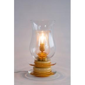 Italian Venetian Murano Glass Table Lamp in Gold and Amber, circa 1950s