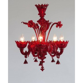 Red Italian Venetian Glass Chandelier, circa 1990s