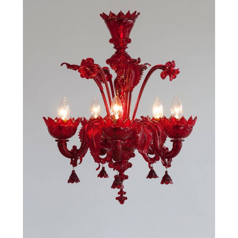 Red Murano Chandelier: Red Italian Venetian Glass Chandelier, Circa 1990s