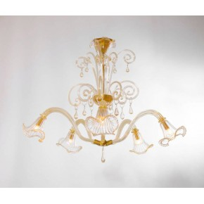 Italian Mid-Century Chandelier, in Transparent and Gold, Attributed to Seguso