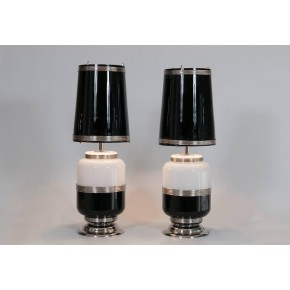Pair of Italian Venetian Murano Glass Table Lamps, circa 1960s
