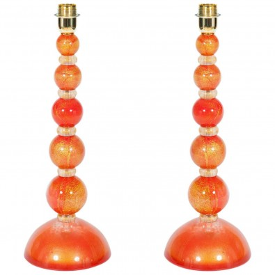 Pair of Italian Venetian Murano Glass Table Lamps in Gold and Orange