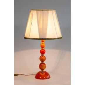 Pair of Italian Venetian Murano Glass Table Lamps in Gold and Orange