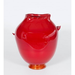 Italian Venetian Murano Glass Vase in Gold Red Color, circa 1970s