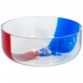 Blue and Red Murano Glass Bowl, 1980s