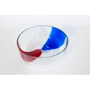Bowl in Murano Glass blue and red, 1980s