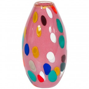 Pink and Multicolor Murano Glass Vase, 1980s