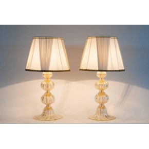 Pair of Gold Table Lamps, Barovier & Toso 1970s