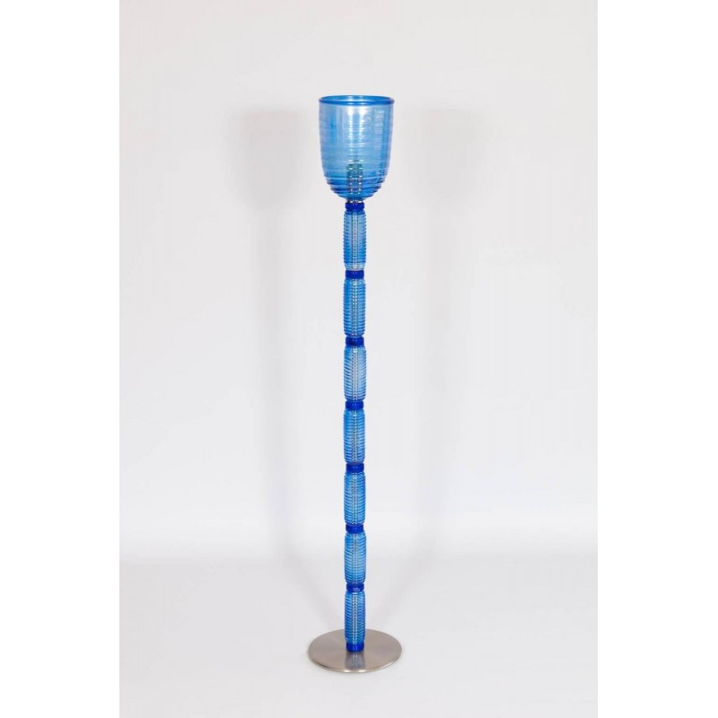 Italian venetian floor lamp in light blue murano glass for Floor lamp with blue glass
