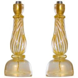 Pair of Italian Murano Glass Table Lamps, Seguso 1960s