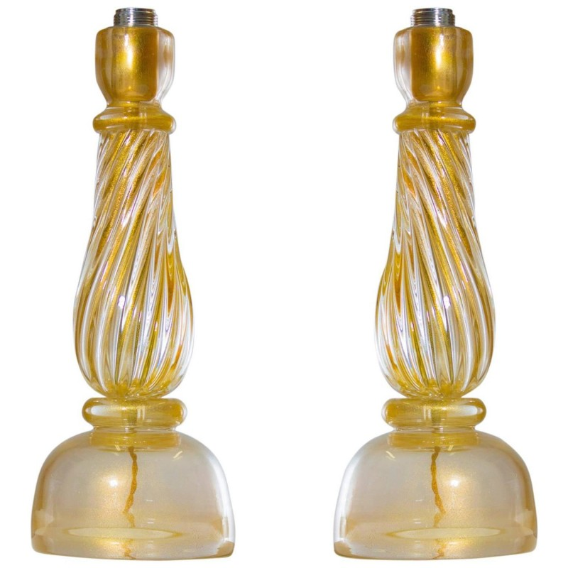 Pair of italian venetian murano glass table lamps seguso 1960s pair of italian murano table lamps attributed to seguso circa 1960s mozeypictures Image collections