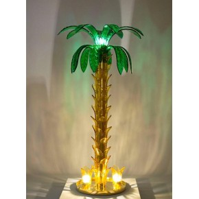 Floor lamp Palm in Murano Glass amber and green