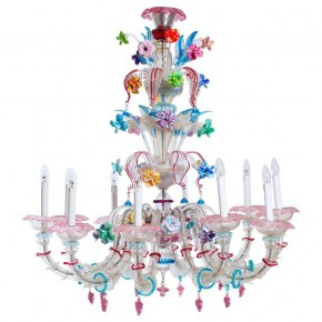 Murano Glass Ca'rezzonico Chandelier by Galliano Ferro