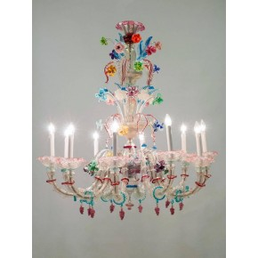 Ca'rezzonico Chandelier in Murano Glass by Galliano Ferro