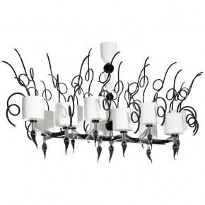 Black and White Murano Glass Chandelier, Circa 1990s