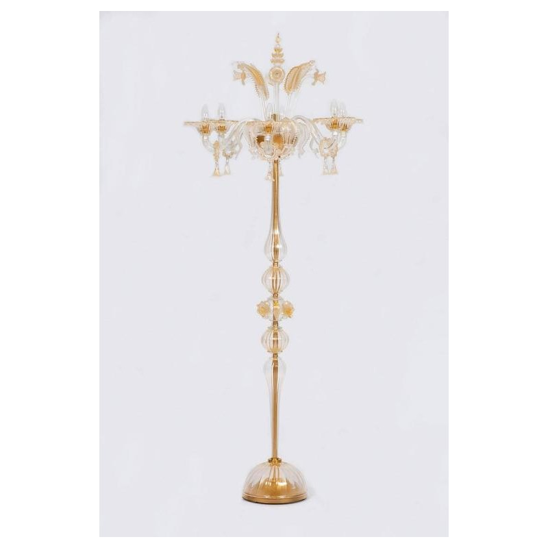 Italian Venetian Floor Lamp In Gold Murano Glass