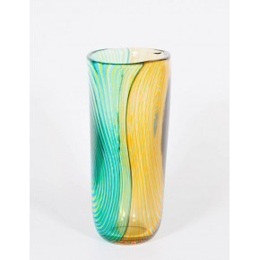 Vase in Murano Glass, Green and Orange