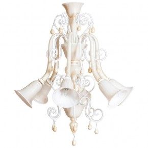 Ivory and Gold Murano Glass Chandelier, Seguso Style 1980s