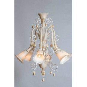 Chandelier in Murano Glass Ivory and Gold, in Seguso Style 1980s
