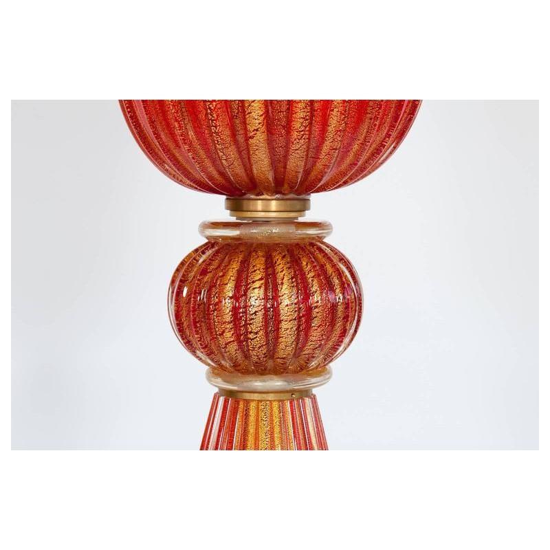 Italian Venetian Floor Lamp in Murano Glass Red and Gold, 1980s