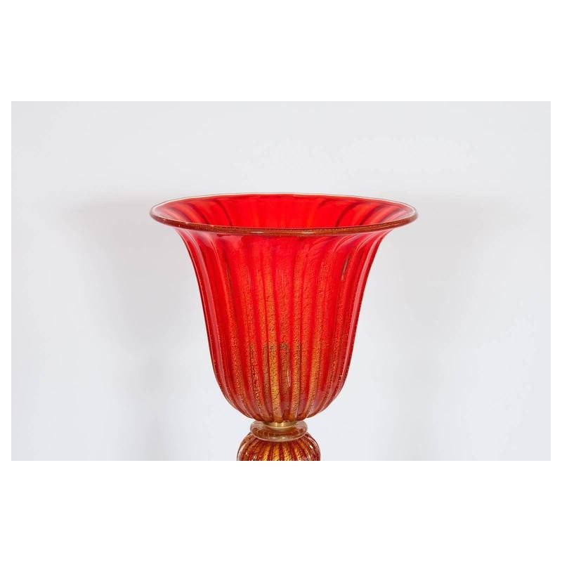 Italian Venetian Floor Lamp In Murano Glass Red And Gold
