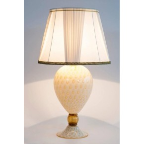Table Lamp in Murano Glass in White and Amber