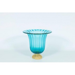 Vase in Murano Glass light blue and gold, 1980s