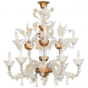 Ca'rezzonico Chandelier in Murano Glass Gold, 1950s