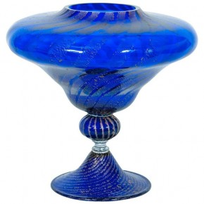 Vase in Murano Glass Blue and Silver, 1980s