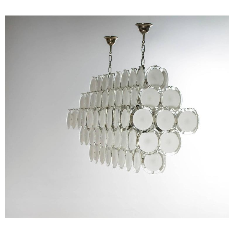 Modern Murano Chandelier S5030l6 Clear White Glass