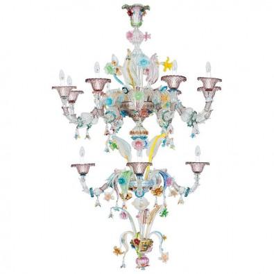 Ca'rezzonico Chandelier in Murano Glass multicolor, Galliano Ferro, 1950s