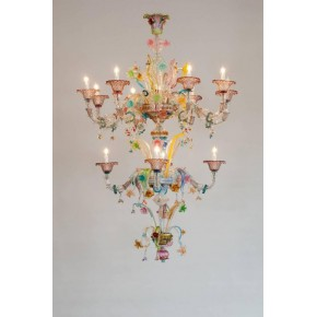 Ca'rezzonico Chandelier in Murano Glass multicolor, Galliano Ferro, 1950s