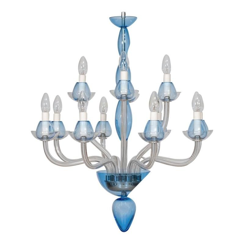 Italian venetian murano glass chandelier vintage antique vintage vintage modern italian chandelier in murano glass transparent and light blue mozeypictures Image collections