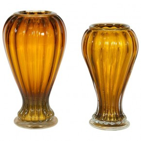 Pair of Amber and Gold Italian Murano Glass Vases, 1990s