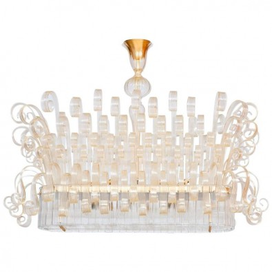 Italian Chandelier in Murano Glass, Transparent, 24K gold, Limited Edition, 2017