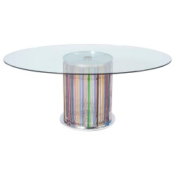 Italian Murano Dining Table with Lights in the Stem, circa from 1980s
