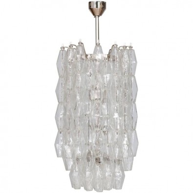 Italian Modern Chandelier in Transparent Murano Glass, Venini, 1960s