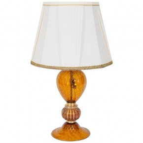 Italian Table Lamp in Murano Glass Amber and 24-Karat Gold, 1980s